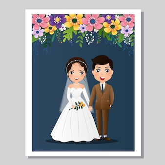 結婚式の招待カード、新郎新婦のかわいいカップルの漫画のキャラクター。