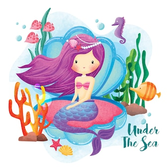 Русалка принцесса под морем иллюстрация