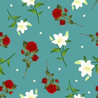レッドローズとホワイトユリの花クリスマスグリーンティールの背景。