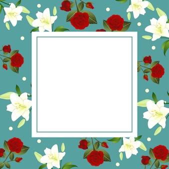 赤いローズと白いリリーの花クリスマスの緑のティールのバナーカード