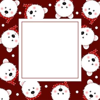 白いベア赤いスカーフと赤いバナーカード