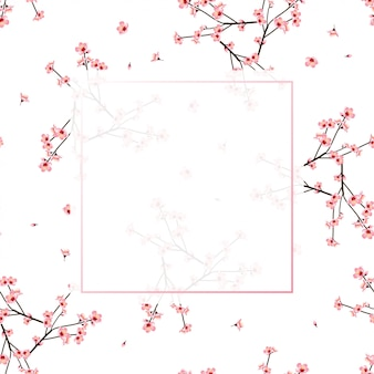 モモ桃の花のフレーム白背景