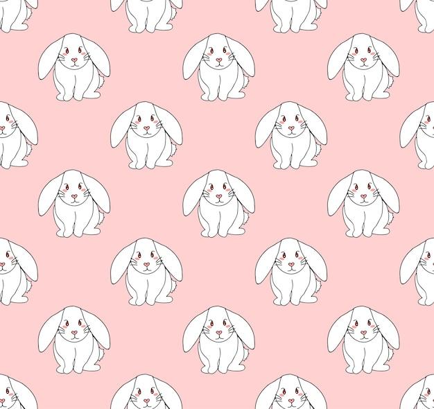 ライトピンクの背景にかわいい白ウサギ
