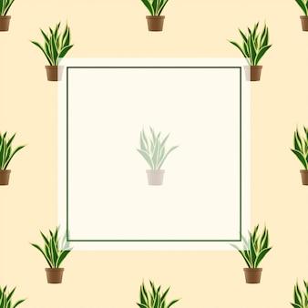 Рамка из змеиных растений на фоне цвета слоновой кости
