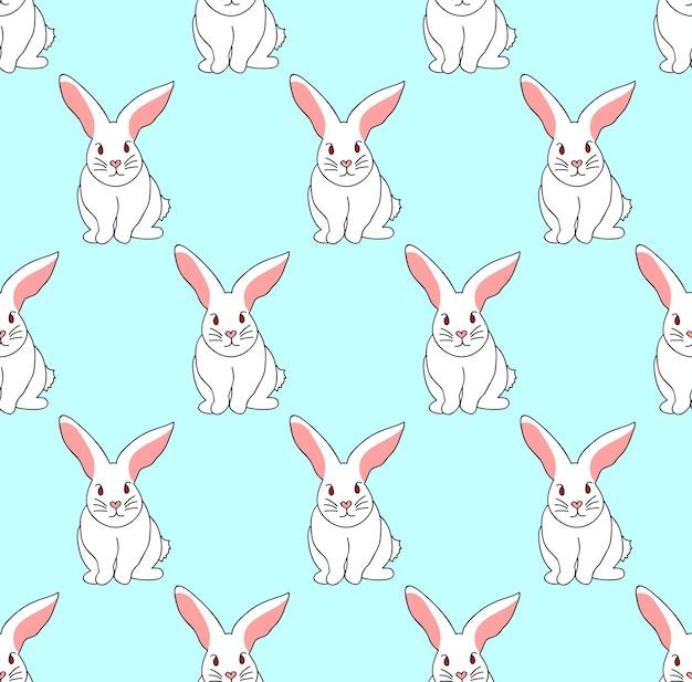 ブルーミントの背景に白ウサギ