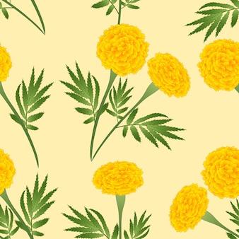 アイボリーベージュの背景に黄色のマリーゴールド