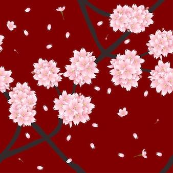 赤い背景にさくら桜の花