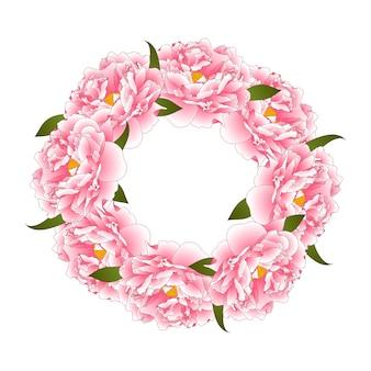 Розовый пионный цветочный венок