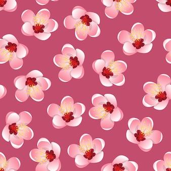 ピンクの背景にモモピーチの花の花
