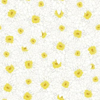 Белый хризантемы бесшовные фон