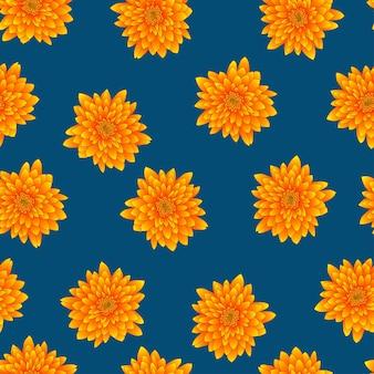 Желтая хризантема на голубом фоне индиго