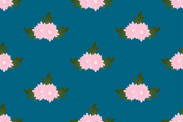 インディゴブルーの背景にピンクの菊