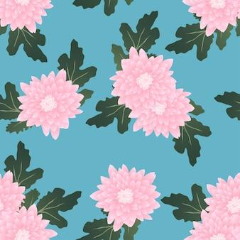 ライトブルーの背景にピンクの菊
