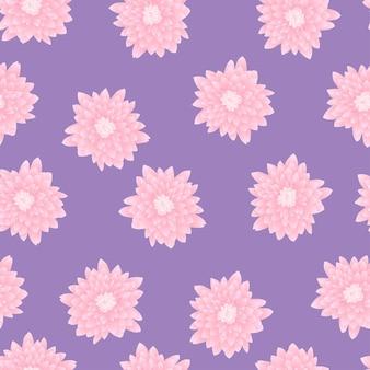 紫の背景にピンクの菊