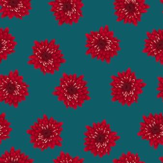インディゴブルーの背景に赤い菊。