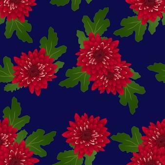 紺碧の背景に赤い菊