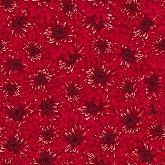 赤い菊のシームレスな背景