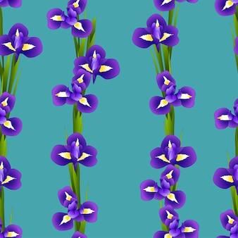 インディゴブルーの背景にアイリスの花シームレス
