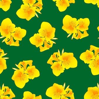 緑の背景に黄色のカンナ・リリー