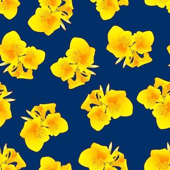 ネイビーブルーの背景に黄色のカンナ百合