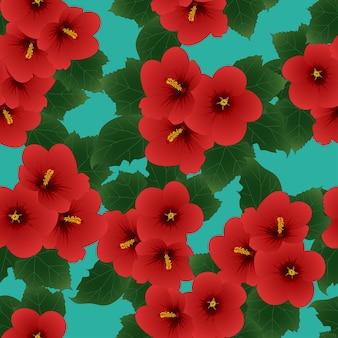 赤いハイビスカスシロアウズ - シャロンティールの背景のローズ