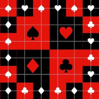 カードスーツレッドブラックホワイトチェスボードの背景