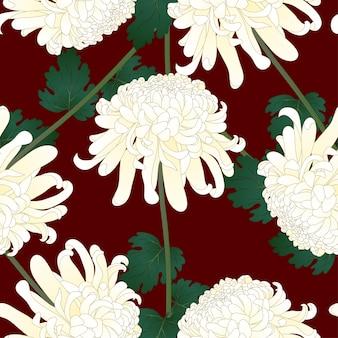 赤い背景に白い菊花
