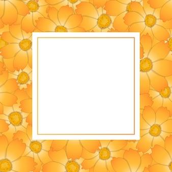 オレンジイエローコスモスフラワーバナーカード