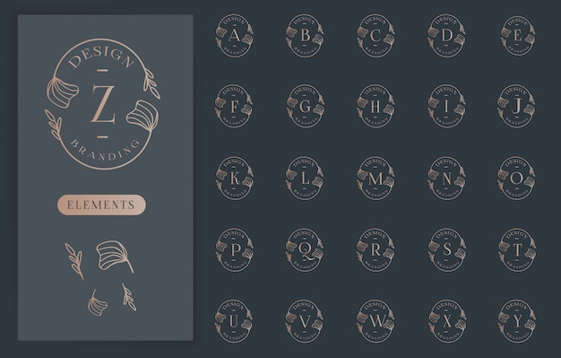 女らしい花の文字ロゴコレクション