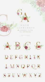 花の飾りと黄金のアルファベットコレクション