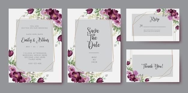 バーガンディ赤面水彩花の結婚式の招待カード