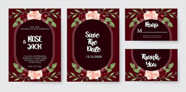 ブルゴーニュ赤面水彩花の結婚式の招待状