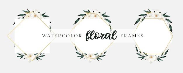 幾何学的な花のフレームで設定されたエレガントな結婚式の招待カードのテンプレート