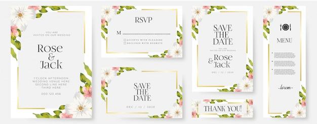 花の結婚式の招待カードのテンプレートセット