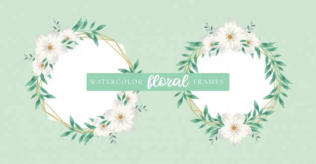 ユーカリ水彩花のフレーム