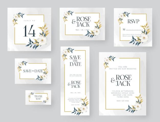 黄金の自然と結婚式の招待状のテンプレート