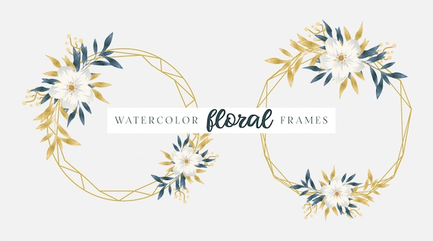 水彩の黄金の花のフレーム