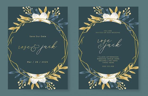 水彩花飾り付きのエレガントな結婚式の招待カードテンプレート