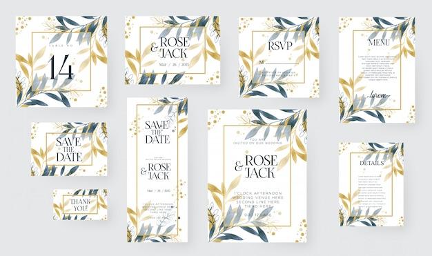 黄金の花飾り入り水彩結婚式招待状カードのテンプレート