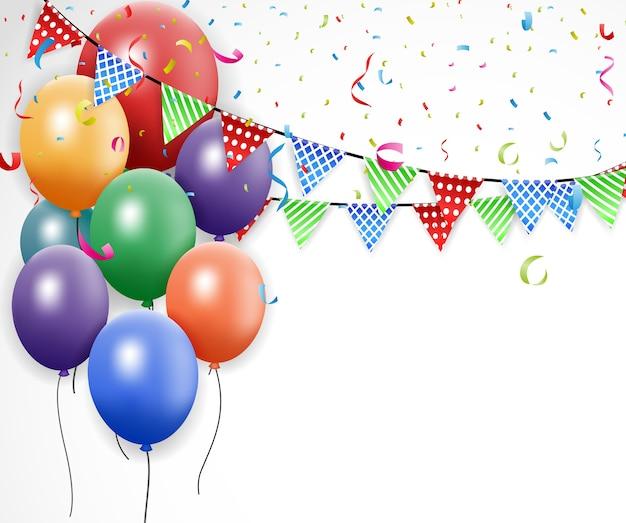 Празднование дня рождения с воздушным шаром и лентой