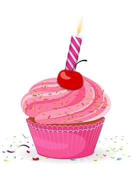 День рождения кекс со свечой