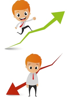 ビジネスマン、グラフィック、チャート