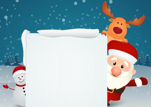 サンタクローストナカイと雪だるま