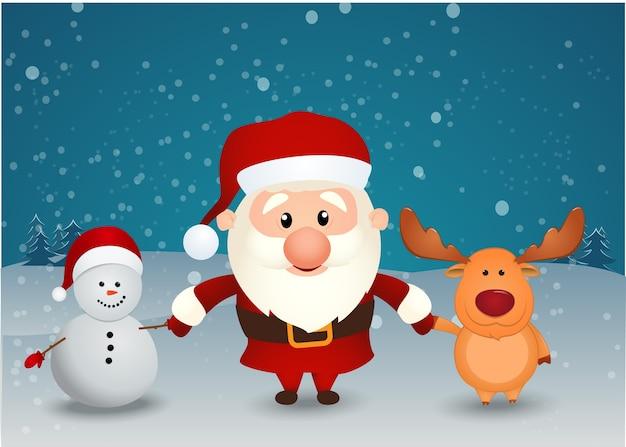 サンタクロースのトナカイと雪だるまの手