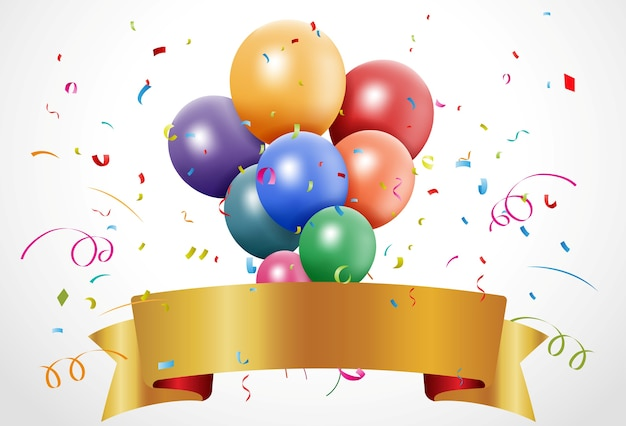 Красочное празднование дня рождения с воздушным шаром и лентой