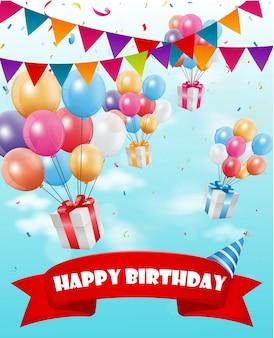 С днем рождения с красочным воздушным шаром и конфетти