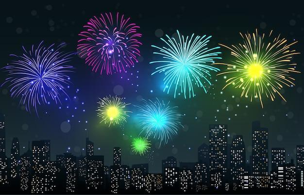 都市の夜景の花火