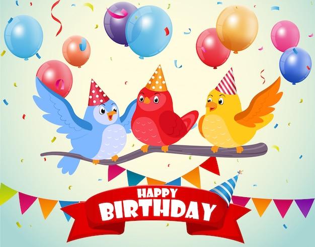 かわいい鳥たちの誕生日おめでとう