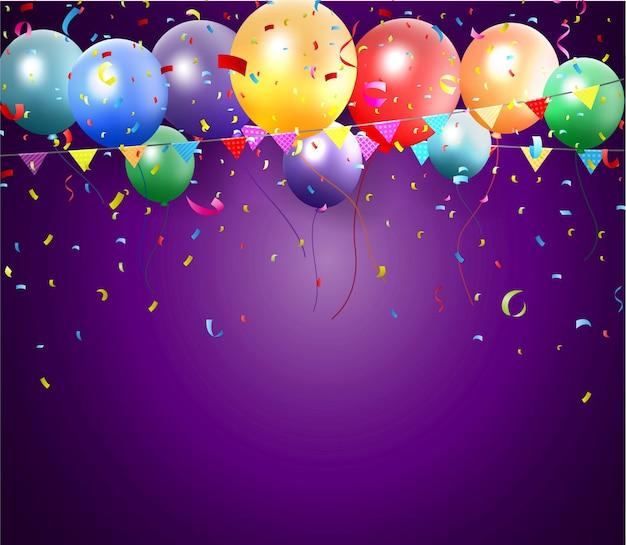 Плакат с днем рождения с воздушным шаром и конфетти