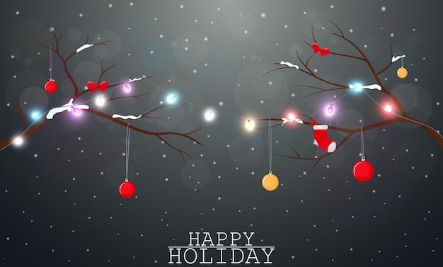 クリスマスの背景に光と装飾